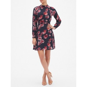 Floral Print Blouson Sleeve Fit and Flare Dress