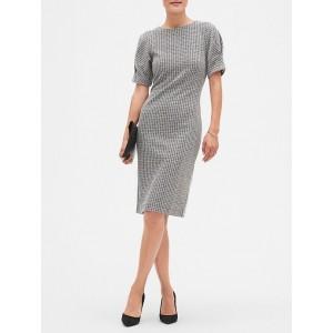 Petite Pleat Cuff Tweed Sheath Dress