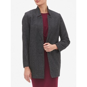 Inverted Collar Long Wool Coat