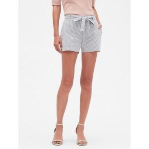 Petite Tie Waist Seersucker Shorts - 4 inch inseam