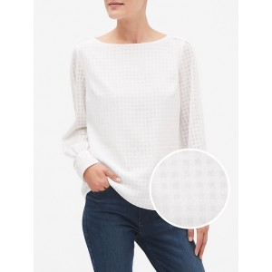 Petite Check Cuffed Sleeve Top