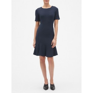 Twill Knit Fit and Flare Dress