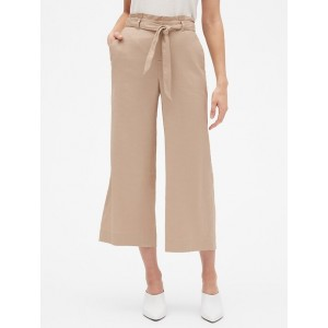 Tie Waist Wide-Leg Crop Pant