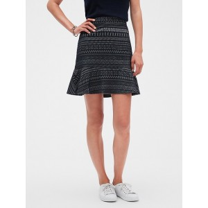 Petite Jacquard Knit Fluted Hem Fit and Flare Skirt