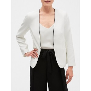 Petite Collarless Contrast Piping Blazer