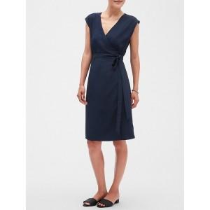 Petite Tailored Cap Sleeve Wrap Dress