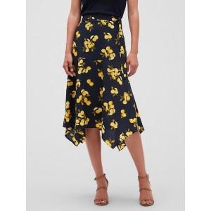 Petite Print Tie Waist Handkerchief Midi Skirt