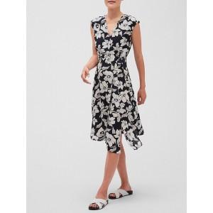 Petite Floral Print Midi Wrap Dress