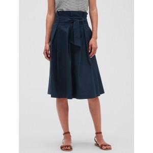 Petite Poplin Tie Waist Midi Skirt