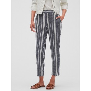 Petite Avery Linen Stripe Tailored Ankle Pant