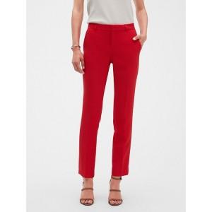 Petite Machine Washable Ryan Red Slim Straight Suit Pant