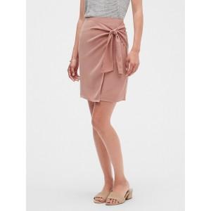Petite Satin Tie Knot Wrap Pencil Skirt