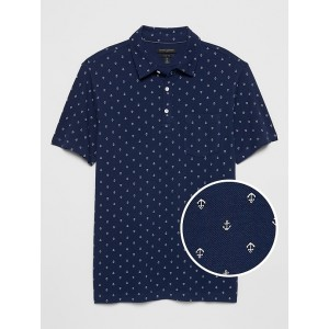 Slim-Fit Nautical Print Pocket Pique Polo