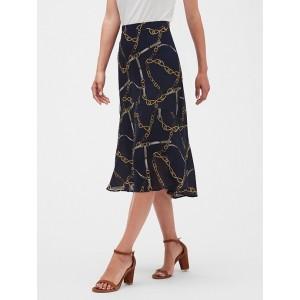 Chain Print Flare Midi Skirt