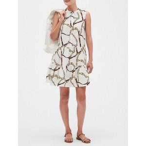 Chain Print Flounce Swing Shift Dress