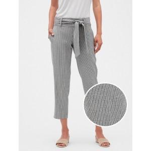 Petite Stripe Tie Waist Crop Pant