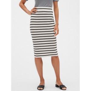 Petite Stripe Ribbed Knit Midi Pencil Skirt