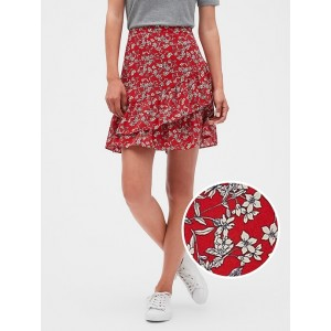 Petite Floral Print Ruffle Hem Fit and Flare Skirt
