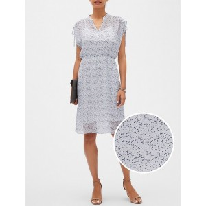 Abstract Dot Print Cold Shoulder Slip Fit and Flare Dress