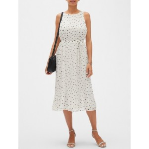 Petite Pleated Dot Midi Dress