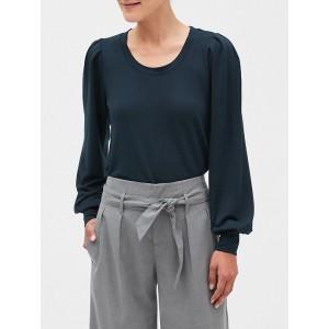Puff Sleeve Scoop Neck Sweatshirt