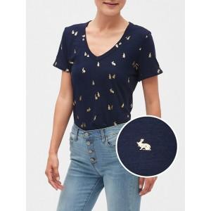 Print Malibu Roll Sleeve V-Neck T-Shirt