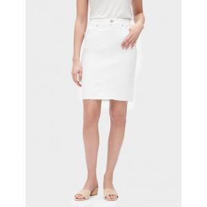 White Raw Hem Denim Pencil Skirt