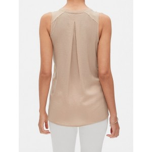 Mixed Material Pleated Back Top