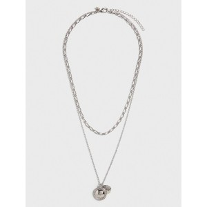 Silver Double Chain Charm Necklace