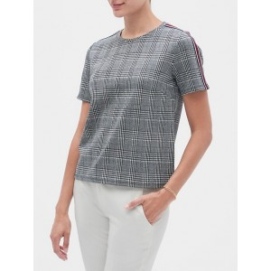 Petite Menswear Plaid Textured Shoulder Stripe Top