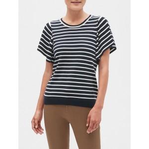 Stripe Flutter Sleeve Crew Neck Sweater