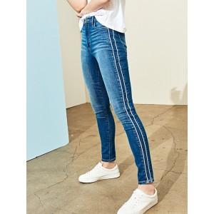 High Rise Medium Wash Double Side Stripe Skinny Jean