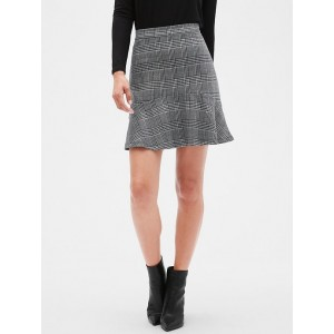 Petite Glen Plaid Knit Fluted Hem Fit and Flare Skirt