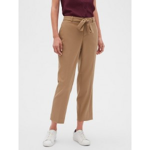 Petite Avery Tie-Waist Brushed Twill Tailored Ankle Pant