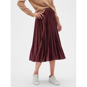 Petite Velvet Pleated Midi Skirt