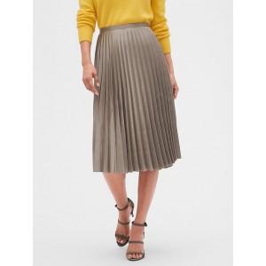 Petite Satin Sheen Pleated Midi Skirt