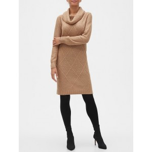 Petite Geo Cable Cowl-Neck Sweater Dress