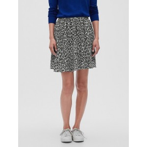Animal Print Pleated Fit and Flare Skirt