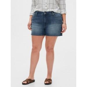 Curvy Medium Wash Denim Shorts - 4 inch inseam