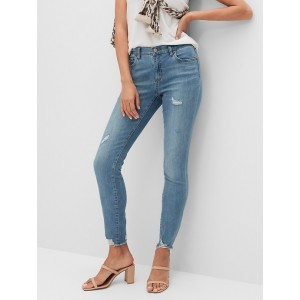 Mid-Rise Soft Touch Medium Wash Destructed Skinny Jean