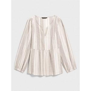Striped Shirred-Waist Linen Blend Top