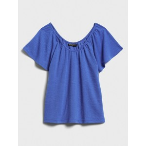 Petite Textured Scoop-Neck Flutter Top