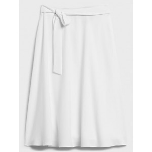 Tie-Waist Flared Midi Skirt