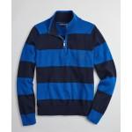 Boys Cotton Rugby Stripe Half-Zip Sweater
