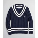 Boys V-Neck Cotton Tennis Sweater