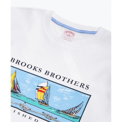 Boat-Print Cotton Jersey T-Shirt