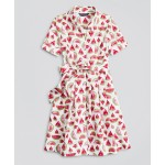 Girls Cotton Poplin Watermelon Print Shirt Dress