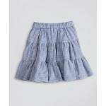 Girls Seersucker Check Ruffle Skirt