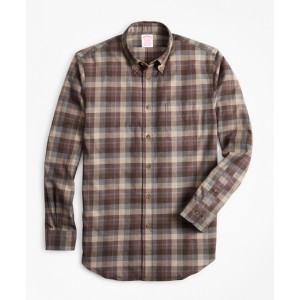 Madison Fit Tan Plaid Brushed Flannel Sport Shirt