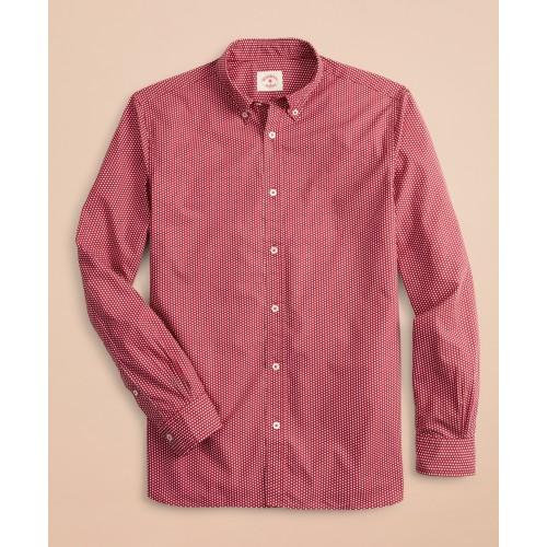 Red Dot-Print Poplin Sport Shirt